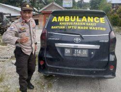 Berdedikasi Tinggi, Bhabinkamtibmas Polres Sigi Hibahkan Mobil Pribadi Untuk Ambulance